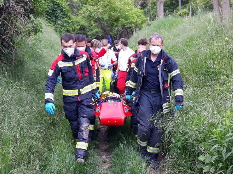 Einsatzfoto Rettung eines schwer verletzten Mountainbikers